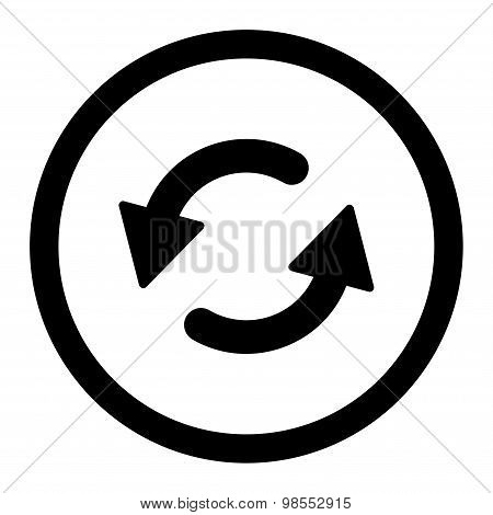 Refresh Ccw flat black color rounded vector icon