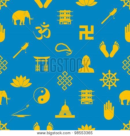 Buddhism Religions Symbols Vector Icons Seamless Pattern Eps10