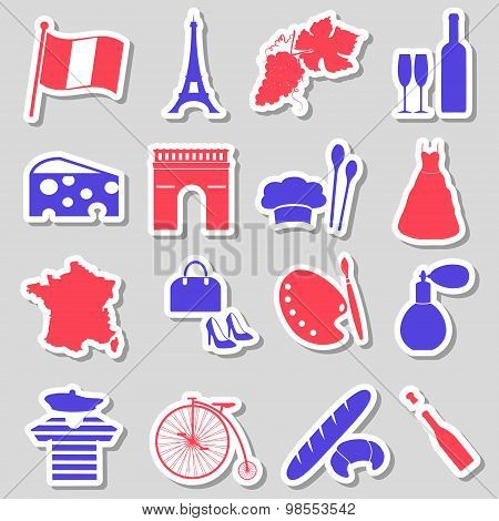 France Country Theme Symbols Stickers Set Eps10