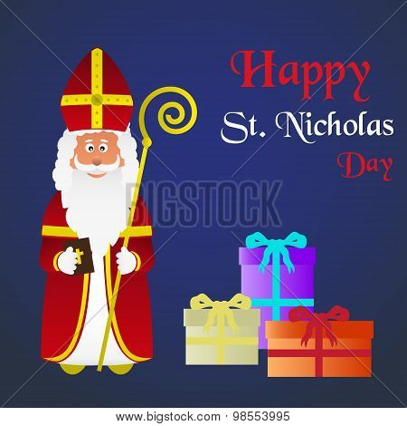 Colorful Vector Saint Nicholas Character Holiday Eps10