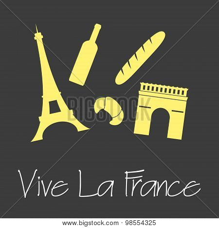 Vive La France Celebration Symbols Simple Banner Eps10