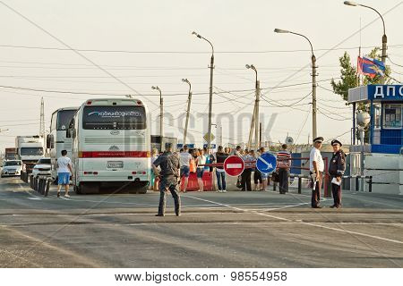 Thorough Passport Control All Intercity Buses, The Post Of Police At The Entrance To The City