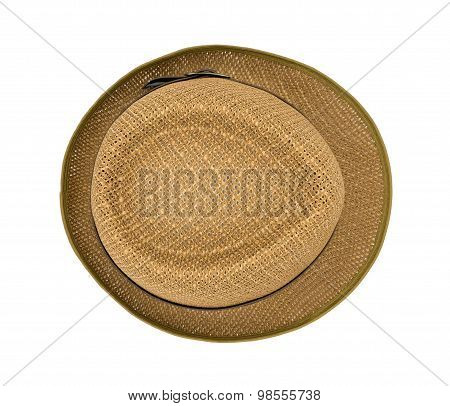 Top view brown hat isolated on a white background.
