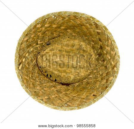 Straw Hat Isolated On A White Background,top View.