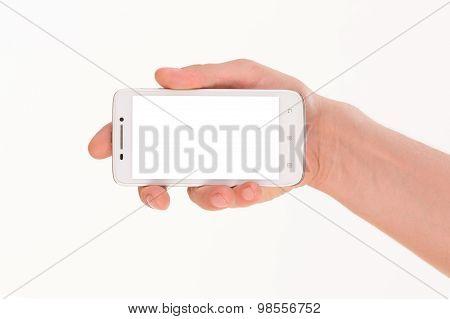 Man's hand holding smart phone