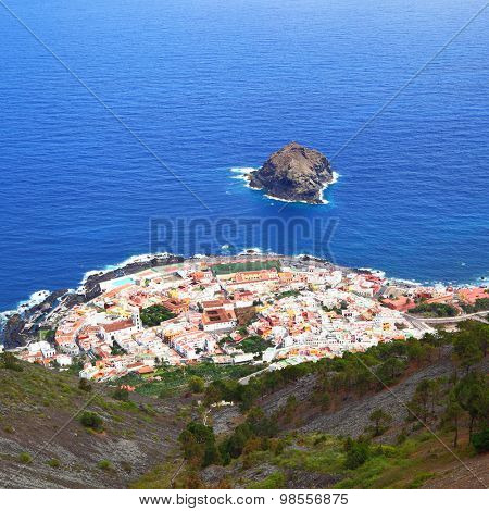 Small town (Garachico) on the ocean coast of Tenerife Island, Spain