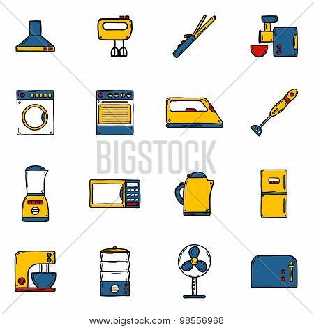 Set of objects in hand drawn cartoon style on home appliance theme: fridge, kettle, microwave, steam