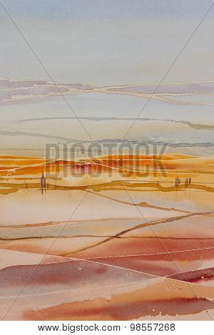 Original watercolour, farmland landscape