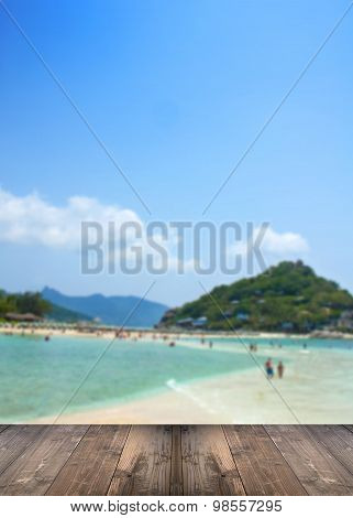 Blurred Koh Nangyuan, Surat Thani, Thailand With Wooden Floor.