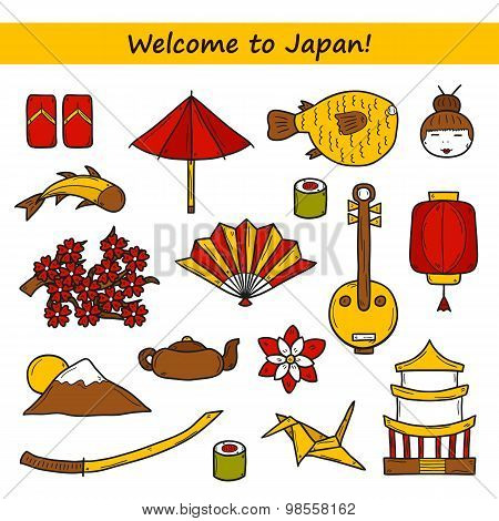 Set of icons in hand drawn style on Japan theme: geisha, sword, sushi, sakura, lantern, origami. Tra