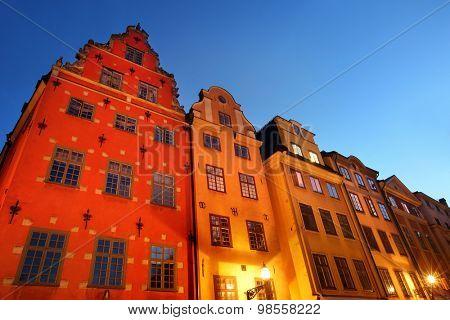 Stortorget square at night. Stockholm, Sweden