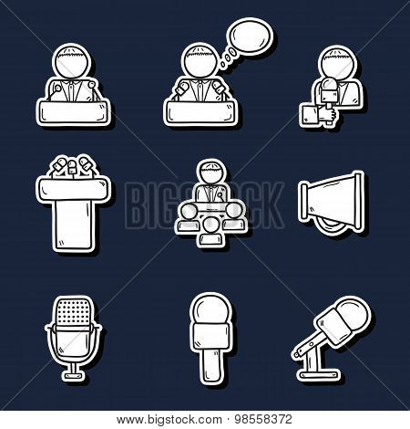 Set of cute hand drawn stickers on public speaking theme with people, microphones, speakers, tribune