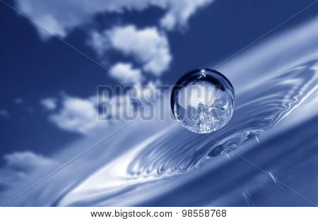water drop on sky background