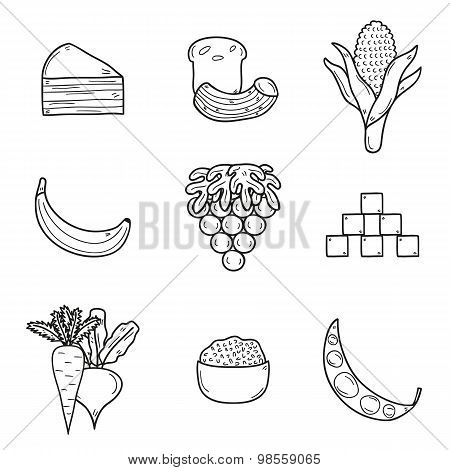 Set of products prohibited during paleo diet in hand drawn cartoon outline style: corn, cake, rice,