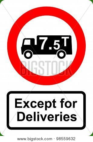Road traffic order sign No HGV vehicles