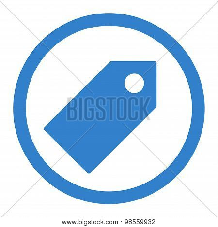 Tag flat cobalt color rounded raster icon