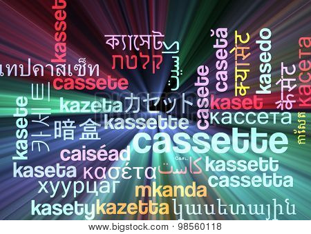 Background concept wordcloud multilanguage international many language illustration of cassette glowing light