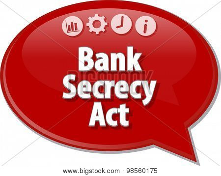Speech bubble dialog illustration of business term saying Bank Secrecy Act