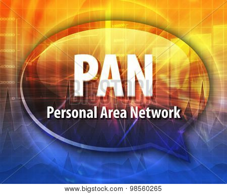 Speech bubble illustration of information technology acronym abbreviation term definition PAN Personal Area Network