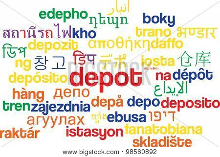 Background concept wordcloud multilanguage international many language illustration of depot