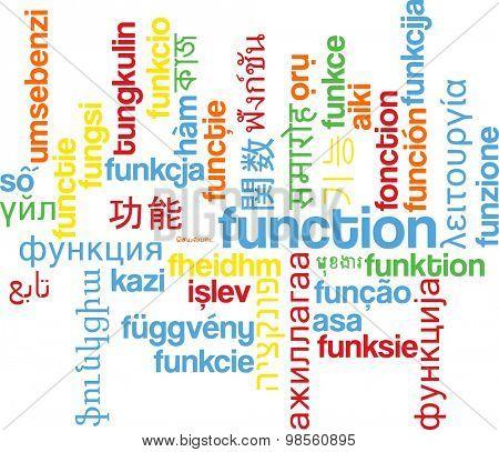 Background concept wordcloud multilanguage international many language illustration of function