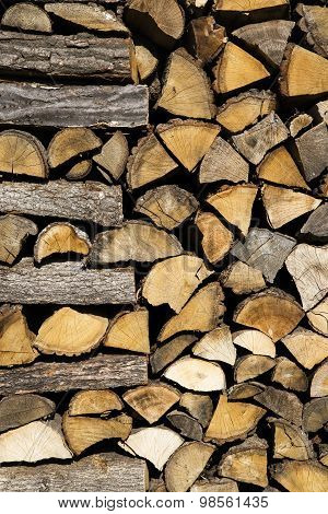 Pile of chopped firewood prepared for winter.
