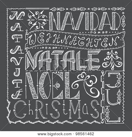 Hand Drawn Christmas Poster Collage With Different Languages.