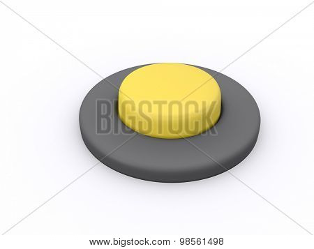 round yellow button isolated on white background. 3D icon