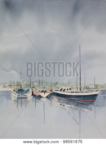 Original watercolour, boats moored in the harbour.