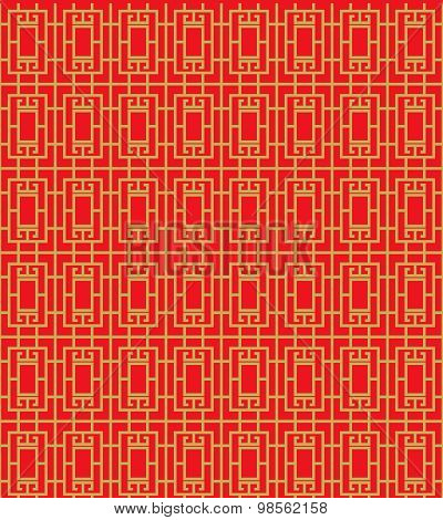 Golden seamless Chinese window tracery geometry line pattern background.