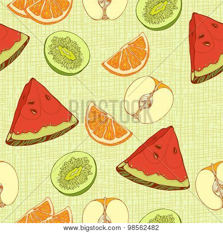 pattern of  slices of oranges, apples, kiwi and waterme