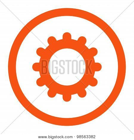 Gear flat orange color rounded raster icon