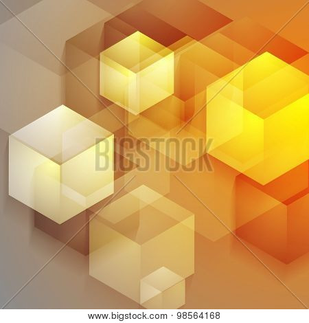 Bright tech geometric background with cubes. Vector design