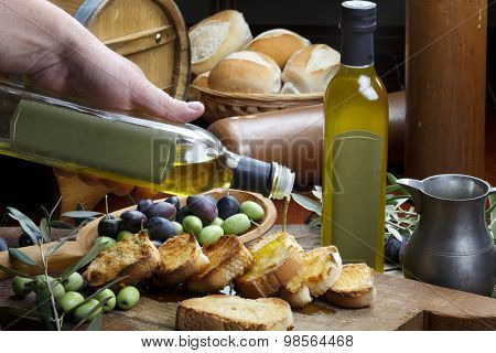 olive oil and breads