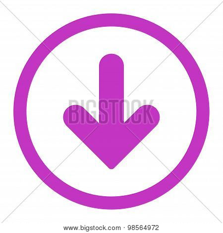 Arrow Down flat violet color rounded raster icon