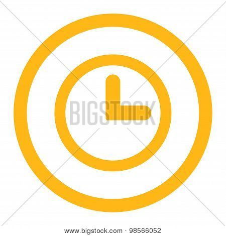 Clock flat yellow color rounded raster icon