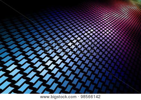 3D spectrum mosaic horizontal background with black copy space.