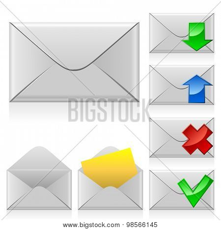 Mail icons. Closed and opened envelope with different signs.