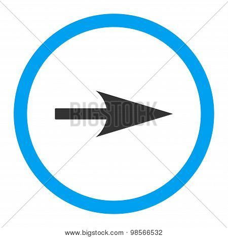 Arrow Axis X flat blue and gray colors rounded vector icon