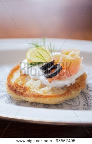 Toasted Baguette With Salmon