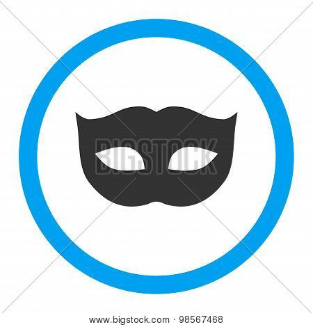 Privacy Mask flat blue and gray colors rounded vector icon
