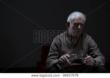 Senior Man Addicted To Alcohol