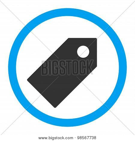 Tag flat blue and gray colors rounded vector icon