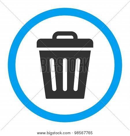 Trash Can flat blue and gray colors rounded vector icon