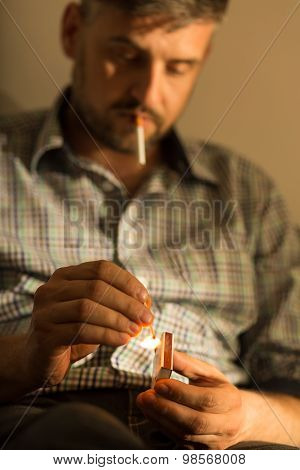 Man Addicted To Cigarette