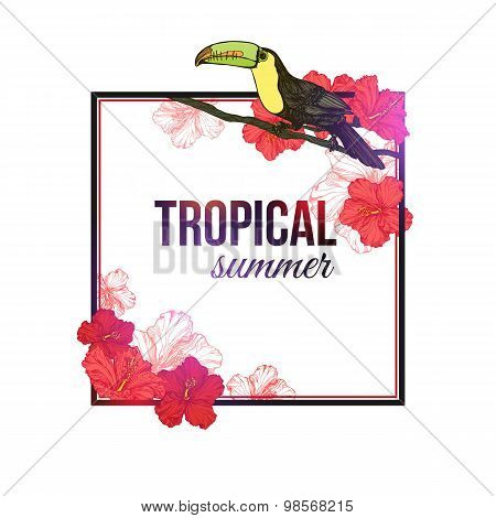 Shining tropical summer typographical background with hand drawn tropical flowers hibiscus, toucan b