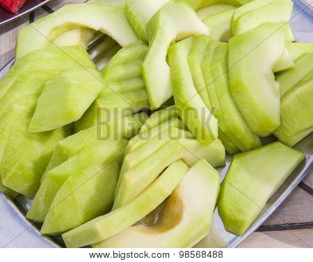 Plate Of Fresh Melon Fruit