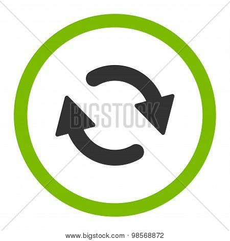 Refresh flat eco green and gray colors rounded vector icon