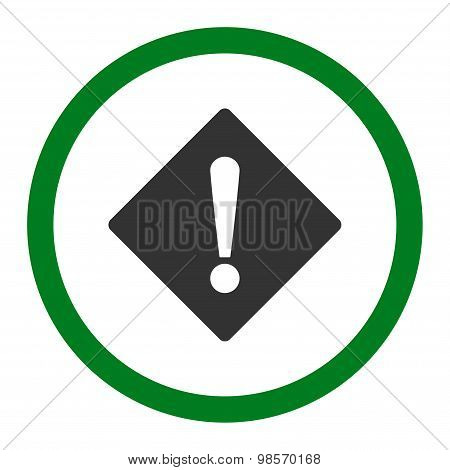 Error flat green and gray colors rounded vector icon