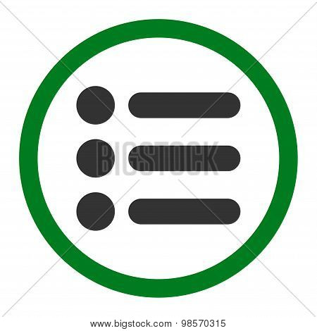 Items flat green and gray colors rounded vector icon